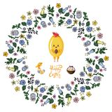 Floral  tangle frame  with chicken, bird, eggs and basket on the transparent background. royalty free illustration