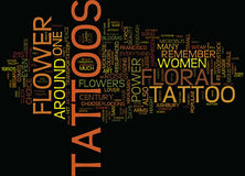 Floral Tattoos Flower Power For The St Century Word Cloud Concept Stock Photos