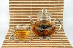Floral Tea. Set of Floral Tea on Bamboo cushion Royalty Free Stock Image
