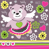 Floral teddy with wing illustration Royalty Free Stock Images