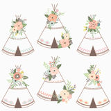 Floral Teepee Collection Stock Photos