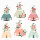 Floral Teepee Elements Stock Images