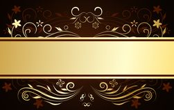 Floral template. Vector golden floral design with card royalty free illustration