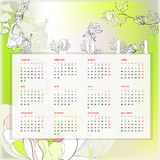 Floral template for calendar Stock Images
