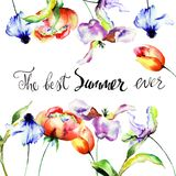 Floral template for card with title the best summer ever. Watercolor illustration Stock Image