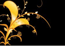 Floral template.cdr. Golden flowers background vector illustration Royalty Free Stock Images