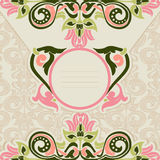 Floral template. Ornament in Art Nouveau style. Template for the invitation Royalty Free Stock Image