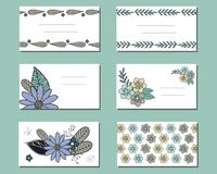 Set of templates with doodle flowers. royalty free illustration