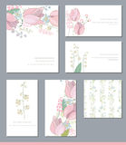 Floral templates with cute bunches of pink tulips and wild flowers. Stock Photography