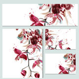 Floral templates or invitation with orchid flowers Stock Image
