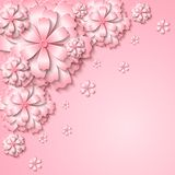 Floral  tender background with 3d cut out paper pink flowers. Floral tender background with 3d cut out paper pink flowers. Vector illustration Stock Images
