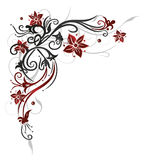 Floral tendril, λουλούδια, κόκκινα Στοκ Εικόνες