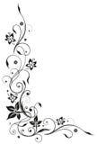 Floral tendril, λουλούδια, μαύρα Στοκ Εικόνα