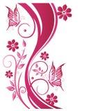 Floral tendril, λουλούδια, ροζ Στοκ Εικόνα