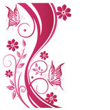 Floral tendril, flowers, pink Stock Image