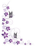 Floral tendril, flowers, purple Stock Photos