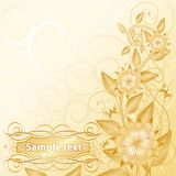 Floral with text gold. Floral and flower background with space for text Stock Photo