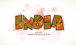 Floral text India for Indian Independence Day. Beautiful floral design decorated text India on shiny background for Indian Independence Day celebration Stock Illustration