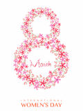 Floral text for International Women's Day celebration. Stock Photo