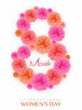 Floral text for International Women's Day. Creative text 8 March, made by beautiful glossy flowers for International Women's Day celebration Royalty Free Stock Image