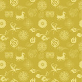 Floral texture with Chinese icons Stock Photography