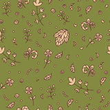 Floral texture. Doodle seamless pattern. Abstract beige flowers Royalty Free Stock Image