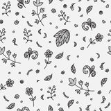 Floral texture. Doodle seamless pattern. Abstract flowers and elements. Royalty Free Stock Photography
