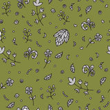 Floral texture. Doodle seamless pattern. Abstract gray flowers. Stock Photo
