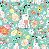Floral texture Easter bunnies and chicks Royalty Free Stock Photos