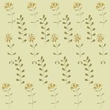 Floral texture, orange flowers, khaki leaves on a beige background, pastel colors Royalty Free Stock Photography