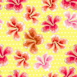 Floral texture with stylish seamless hibiscus pattern Stock Image