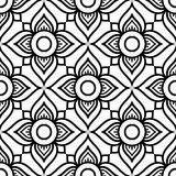 Thai flowers seamless  pattern, black floral repetitive design inspired by art from from Thailand. Floral Thai wallpaper, pretty tiled Asian background on white Stock Photo