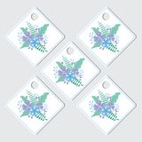 Purple flower thanks tag set. Floral thanks tag set vector design template with purple and blue flowers wreath Stock Images
