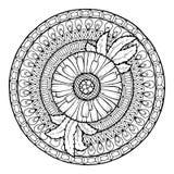 Floral theme. Circle summer doodle flower ornament. Hand drawn daisy art mandala. Royalty Free Stock Photos