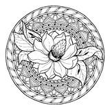 Floral theme. Circle summer doodle flower ornament. Hand drawn magnolia art mandala. Stock Photo