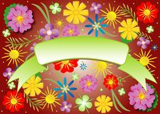 Floral theme with frame, vector Stock Images