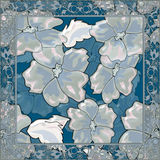Floral tile background with flowers glass effect illustration Stock Photo