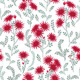 Floral tile pattern. Leaves and flowers. Nature Herb background. Stock Photo