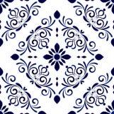 Floral tile pattern. Wallpaper in baroque style Damask floral background, flower ornament, blue and white vases, simple decoration art, ceramic tile pattern stock illustration