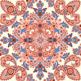 Floral tiled pattern. Flourish background.Flower mandala pattern. Floral pattern. Flourish retro background. Branch with fantastic flowers, leaves and berries vector illustration