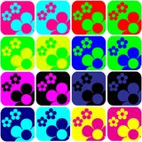 Floral Tiles. Abstract differently colored tiles with floral motive royalty free illustration