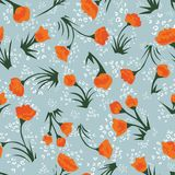 Tiny orange floral seamless vector pattern stock illustration