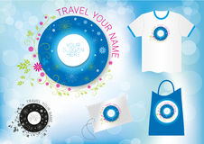 Floral tourism travel logo design. Modern logotype, travel or nature industry with Tote bag example, Tee-shirt and ticket Royalty Free Stock Photography