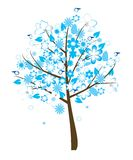 Floral tree. With blue flowers and birds Royalty Free Stock Image