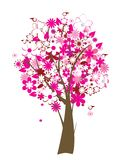 Floral tree. Vector floral tree with birds Stock Images