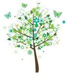Floral tree. With birds and butterflies Stock Photo