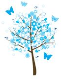 Floral tree. Vector floral tree with birds and butterflies Royalty Free Stock Photos