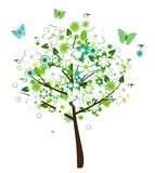Floral tree. Vector floral tree with big flowers, birds and butterflies Royalty Free Stock Photography