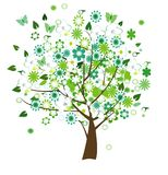 Floral tree. Vector floral tree with birds and butterflies Stock Images