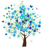 Floral tree. Vector floral tree with different flowers and insects Stock Image